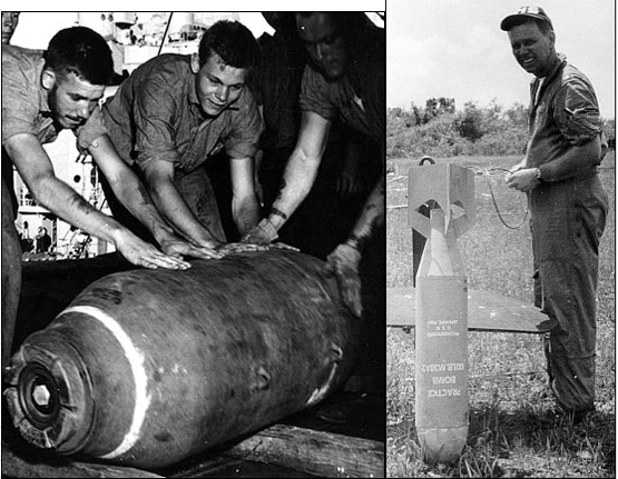 1,000-pound bomb compared to a 100-pound practice bomb