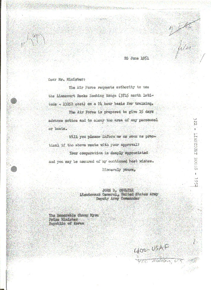 Letter from Lt. Gen. John B. Coulter (Deputy Army Commander, 8th U.S. Army) to ROK PM Chang Myun.