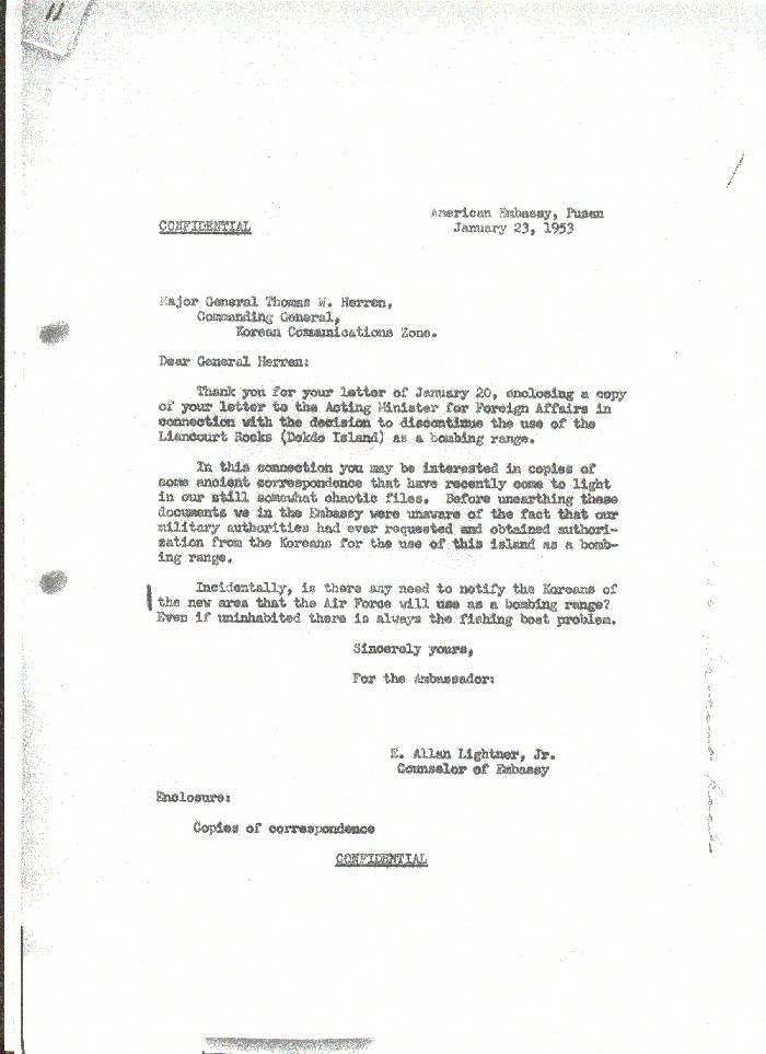 Lightner´s letter to Gen. Herren, which enclosed copies of the request and permission to use Liancourt Rocks as a bombing range.