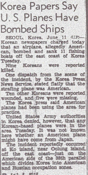 San Francisco Chronicle article on the June 8th bombing.  Reported by the United Press from Seoul on June 11th.