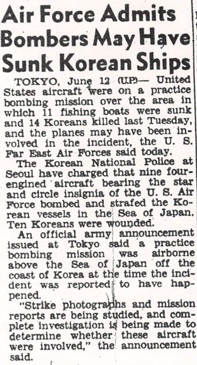 San Francisco Chronicle article on the June 8th bombing.  Reported by the United Press from Tokyo on June 12th.