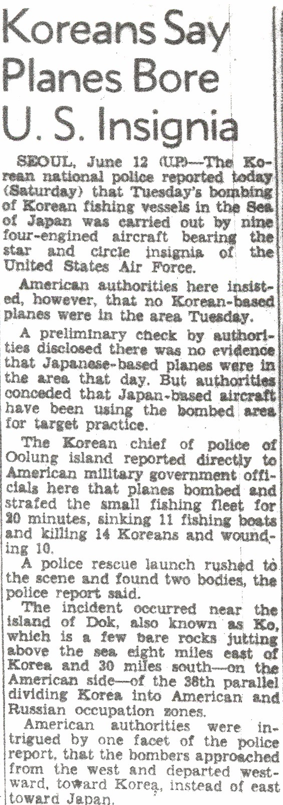 San Francisco Chronicle article on the June 8th bombing.  Reported by the United Press from Seoul on June 12th.