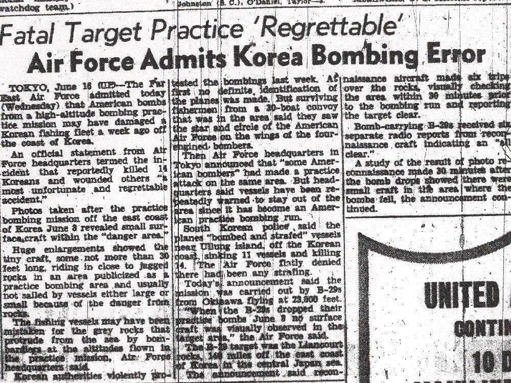 San Francisco Chronicle article on the June 8th bombing.  Reported by the United Press from Tokyo on June 16th.