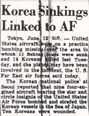 Washington Post article on the June 8th bombing.  Reported by the United Press from Tokyo on June 12th.