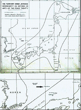 British Commonwealth map of the exact delimitation of Japan.