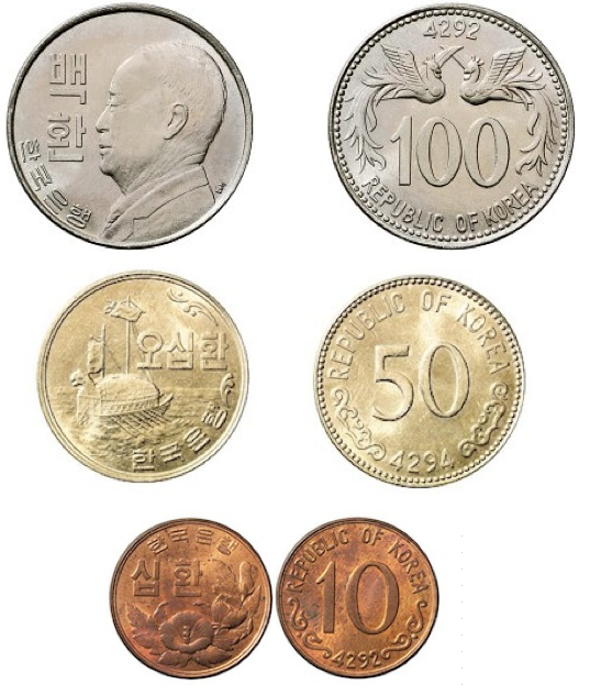 The Hwan-denominated coins of South Korea