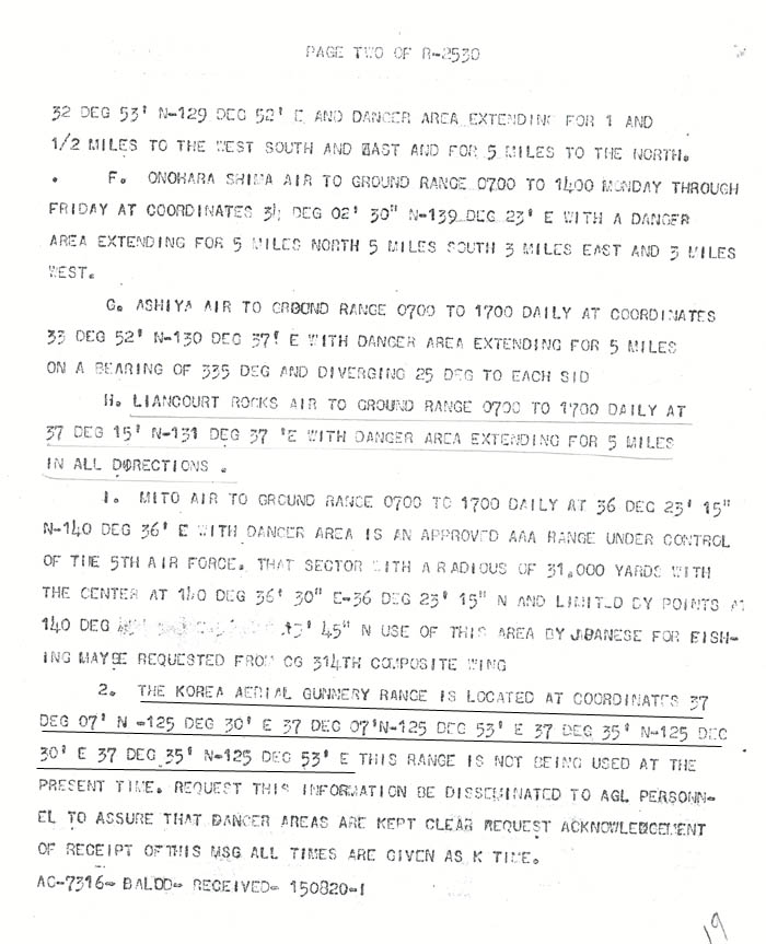 Radio message dated June 14, 1948.